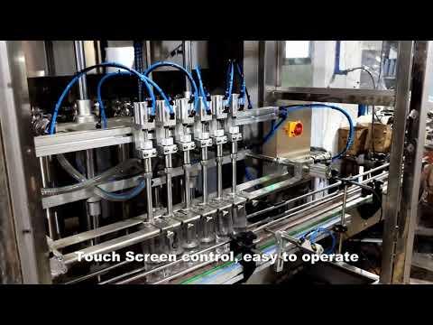 linea automatica riempitrice a 6 teste con riempimento detergente liquido per cloro