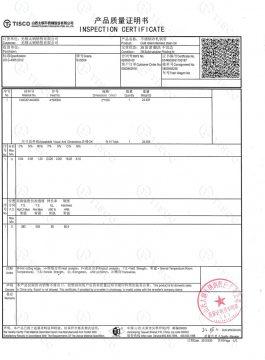 Certificato di ispezione 304SS
