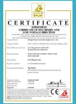 Certificato CE di riempitrice